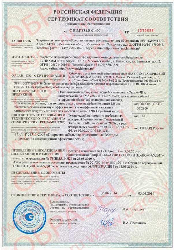 ОГРАКС-Л1. Сертификат соответствия. ООО ГРАНКОРТ.