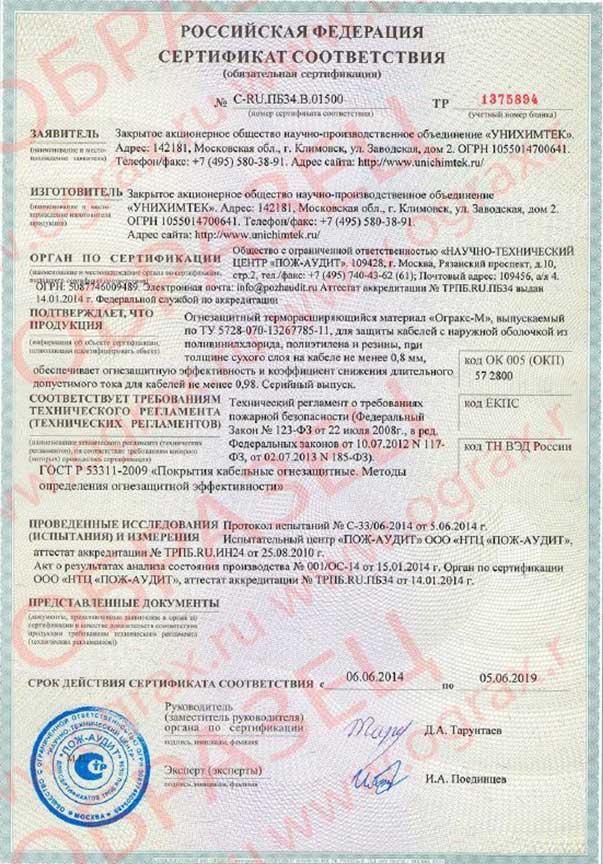 ОГРАКС-М. Сертификат C-RU.ПБ34.В.01500. ООО ГРАНКОРТ.