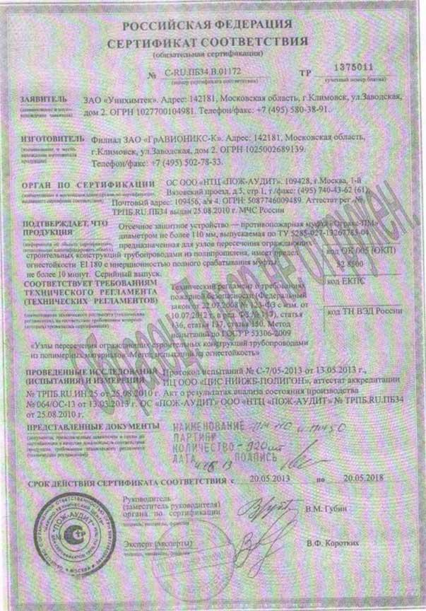ОГРАКС-ПМ. Сертификат соответствия. ООО ГРАНКОРТ.