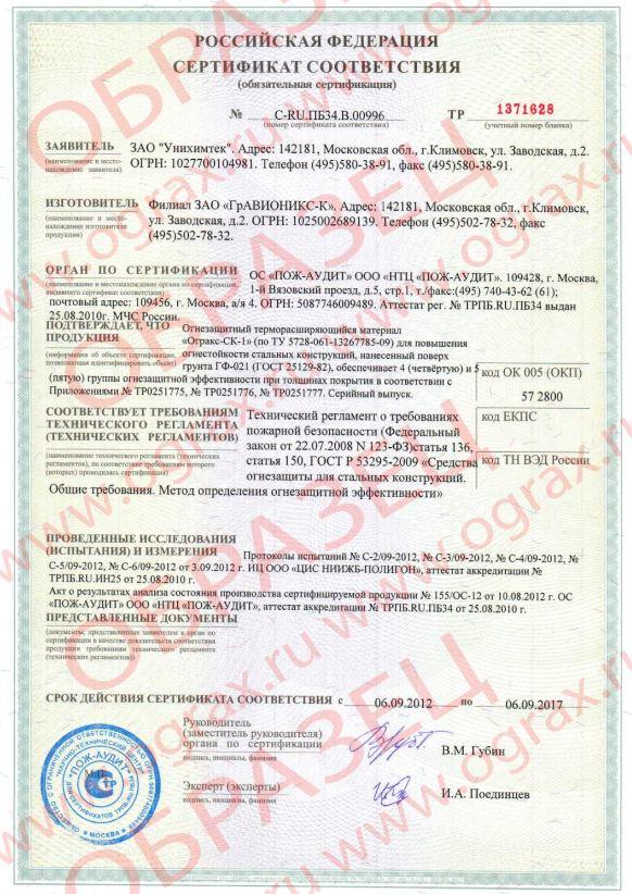 Огракс-СК-1 сертификат С-RU.ПБ34.В.00996. ГРАНКОРТ.