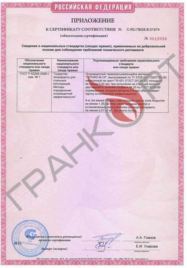 Огракс-В-СК сертификат С-RU.ПБ58.В.01974 приложение. ГРАНКОРТ.