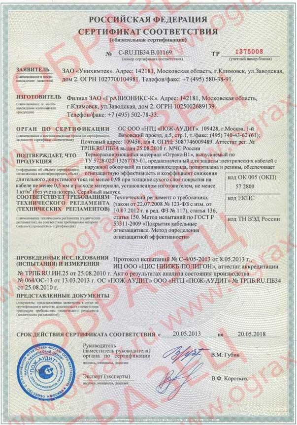 ОГРАКС-ВВ. Сертификат соответствия. ООО ГРАНКОРТ.